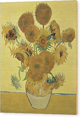 Sunflowers Wood Print by Vincent Van Gogh