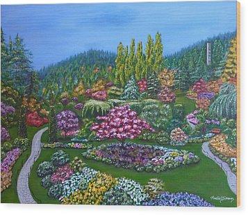 Sunken Garden Wood Print