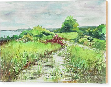 Wood Print featuring the painting Sunken Meadow, September by Susan Herbst