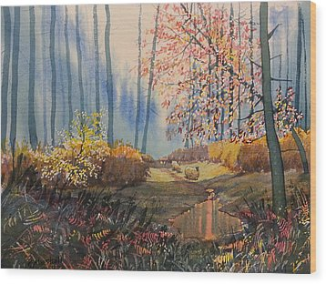 Sunlight And Sheep In Sledmere Woods Wood Print