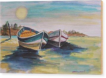 Sunlight On Flat Water Wood Print by John Williams