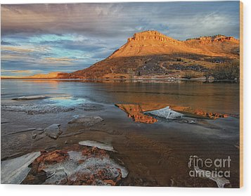 Sunlight On The Flatirons Reservoir Wood Print