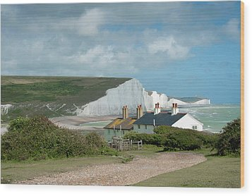 Sunlight On The Seven Sisters Wood Print by Donald Davis