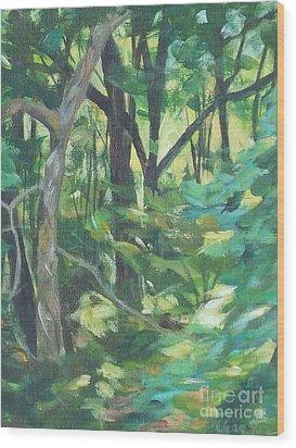 Sunlit Backyard Wood Print