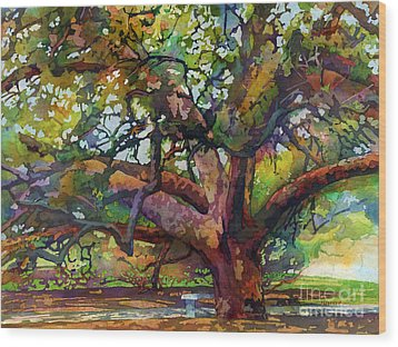 Wood Print featuring the painting Sunlit Century Tree by Hailey E Herrera