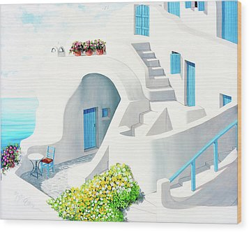 Sunlit In Santorini - Prints Of My Original Oil Painting Wood Print