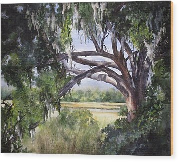 Sunlit Marsh Wood Print by Mary McCullah