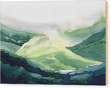 Sunlit Mountain Wood Print by Anil Nene