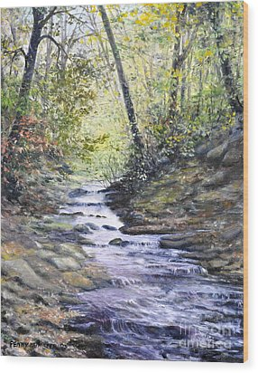 Sunlit Stream Wood Print by Penny Neimiller