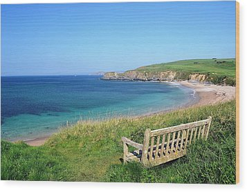Sunny Day At Thurlestone Beach Wood Print by Photo by Andrew Boxall