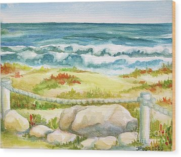Wood Print featuring the painting Sunny Day On Cocoa Beach by Inese Poga