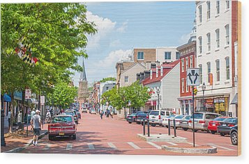 Wood Print featuring the photograph Sunny Day On Main by Charles Kraus