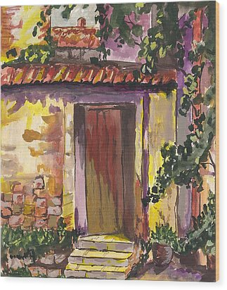 Wood Print featuring the digital art Sunny Doorway by Darren Cannell