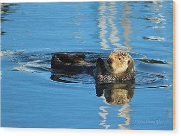 Sunny Faced Sea Otter Wood Print