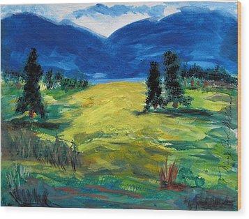 Sunny Field Wood Print by Mary Carol Williams