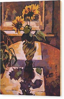 Sunny Flowers In Italian Vase Wood Print