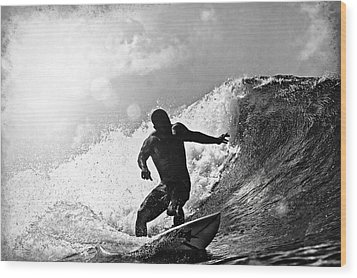 Sunny Garcia In Black And White Wood Print by Paul Topp