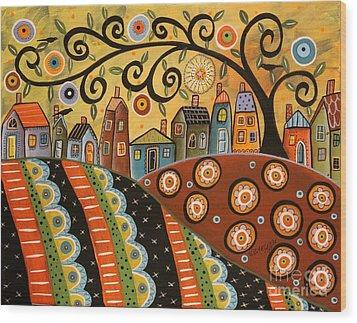 Sunny Landscape Wood Print by Karla Gerard