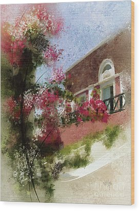 Wood Print featuring the photograph Sunny Santorini by Lois Bryan