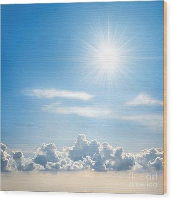Sunny Sky Wood Print by Carlos Caetano