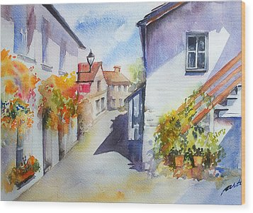 Sunny Street Wood Print