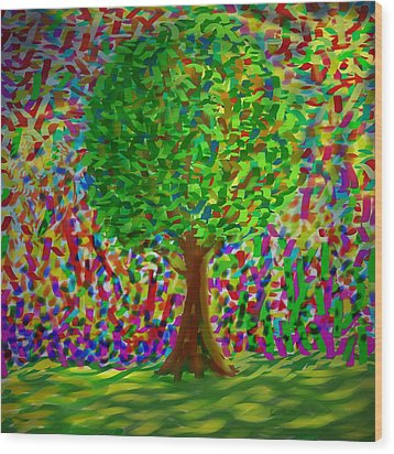 Sunny Tree Wood Print