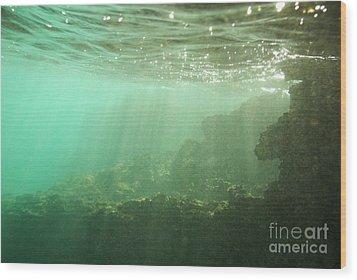 Sunrays Penetrating Underwater Cave Wood Print by Sami Sarkis