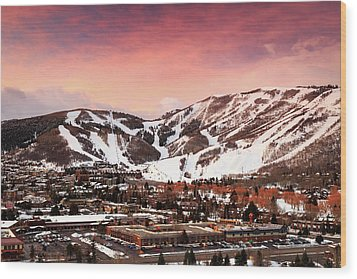 Wood Print featuring the photograph Sunrise Above Park City Mountain, Utah. by Johnny Adolphson