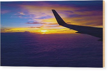 Sunrise Above The Clouds Wood Print