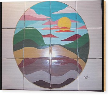 Sunrise Abstract On Tile Wood Print by Hilda and Jose Garrancho