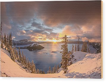 Sunrise After Summer Snowfall Wood Print