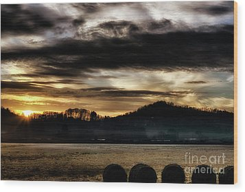 Wood Print featuring the photograph Sunrise And Hay Bales by Thomas R Fletcher