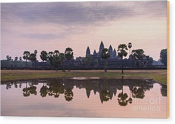 Sunrise At Angkor Wat Wood Print