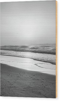 Wood Print featuring the photograph Sunrise At Beach Black And White  by John McGraw