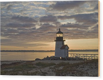 Sunrise At Brant Point Nantucket Wood Print by Henry Krauzyk