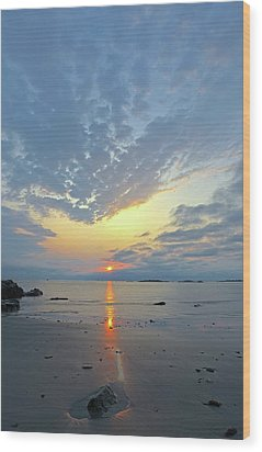 Wood Print featuring the photograph Sunrise At Cohasset Sandy Beach by Juergen Roth