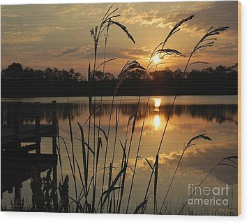 Sunrise At Grayton Beach Wood Print