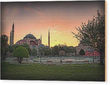 Sunrise At Hagia Sophia Wood Print