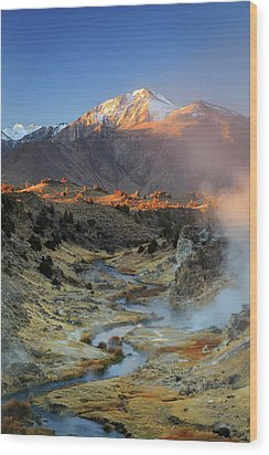 Wood Print featuring the photograph Sunrise At Hot Creek. by Johnny Adolphson