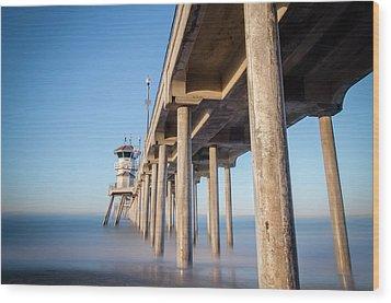 Sunrise At Huntington Beach Pier Wood Print by Sean Foster