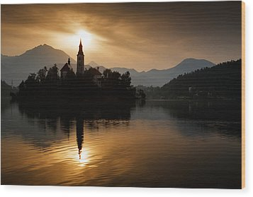 Sunrise At Lake Bled Wood Print