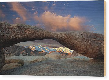 Sunrise At Lathe Arch Wood Print by Keith Kapple