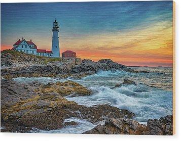 Sunrise At Portland Head Light Wood Print by Rick Berk