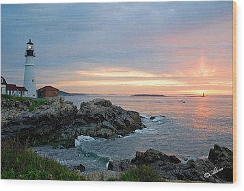 Wood Print featuring the photograph Sunrise At Portland Head Lighthouse by Alana Ranney