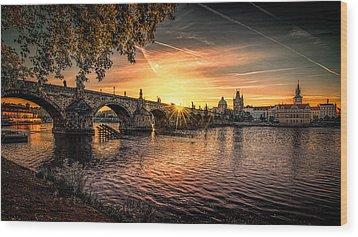 Sunrise At The Charles Bridge Wood Print