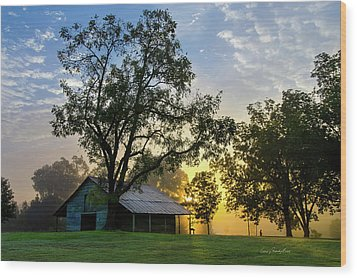 Sunrise At The Farm Wood Print
