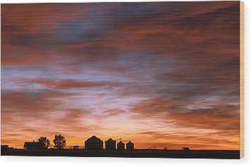 Sunrise At The Farm Wood Print by Monte Stevens
