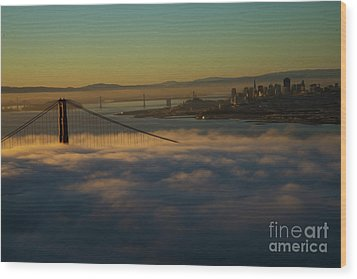 Wood Print featuring the photograph Sunrise At The Golden Gate by David Bearden
