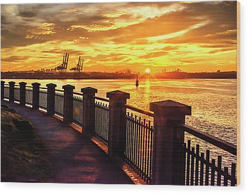 Wood Print featuring the photograph Sunrise At The Harbor by John Poon