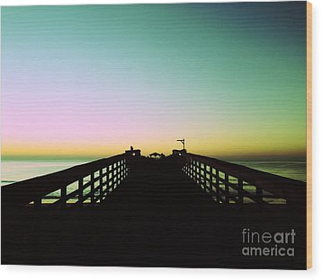 Sunrise At The Myrtle Beach State Park Pier In South Carolina Us Wood Print by Vizual Studio